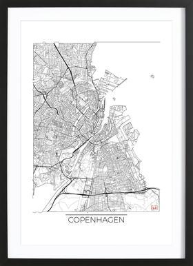 Copenhagen Minimal affiche sous cadre en bois