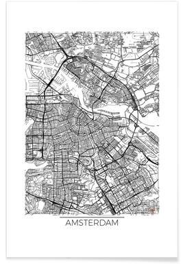 Amsterdam-Minimalistische Stadtkarte -Poster