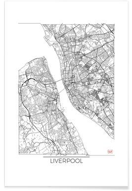 Liverpool - Carte minimaliste affiche