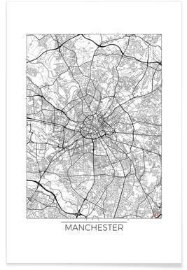 Manchester-Minimalistische Stadtkarte -Poster