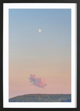 Forest Cloud Moon -Bild mit Holzrahmen
