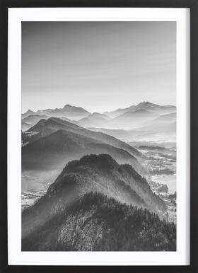Balloon Ride over the Alps 3 - Poster in Wooden Frame