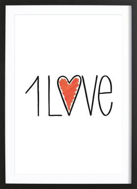 1Love -Bild mit Holzrahmen