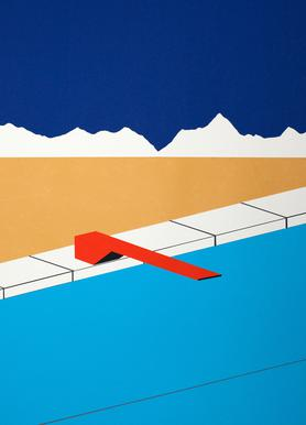 Desert Pool with Red Diving Board