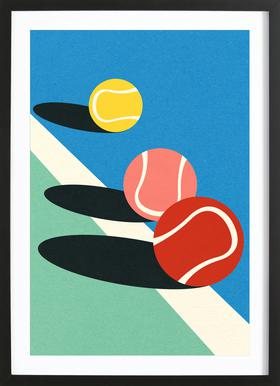 3 Tennis Balls Plakat i træramme