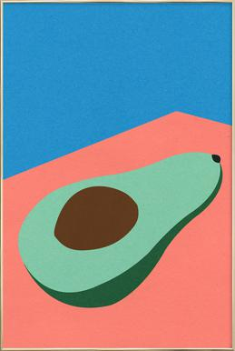 Avocado on the Table Poster in Aluminium Frame