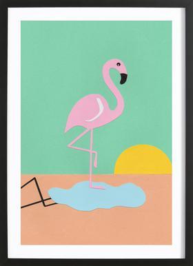 Flamingo Herbert - Poster in Wooden Frame