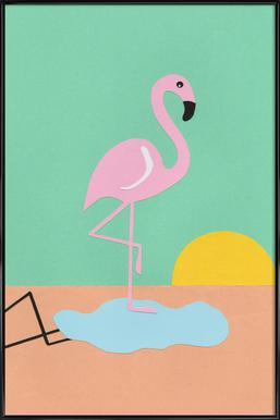 Flamingo Herbert -Bild mit Kunststoffrahmen