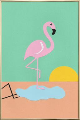 Flamingo Herbert poster in aluminium lijst