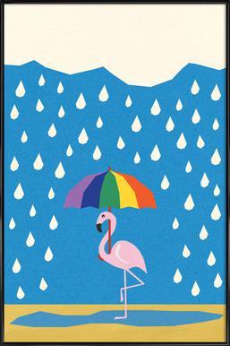 Flamingo de Umbrella Framed Poster