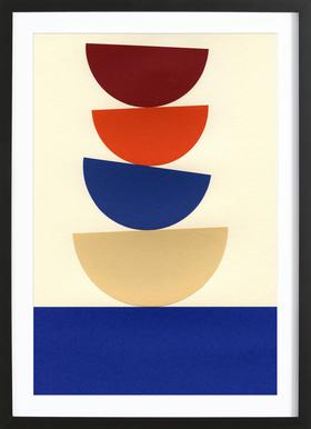 Four Bowls -Bild mit Holzrahmen