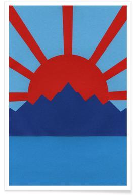 Ocean Moutains Rising Sun Poster