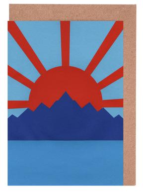 Ocean Moutains Rising Sun Greeting Card Set