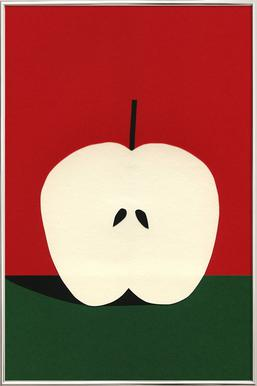 Half Red Apple poster in aluminium lijst