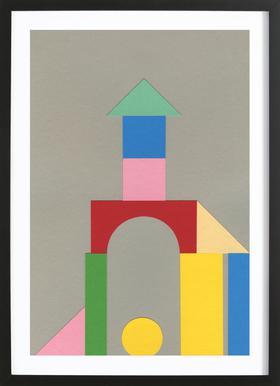 Bauhaus Tower - Affiche sous cadre en bois