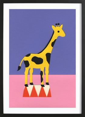 Giraffe Aloopi - Poster in Wooden Frame