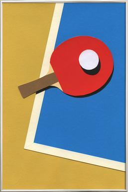 Table Tennis Team Red poster in aluminium lijst