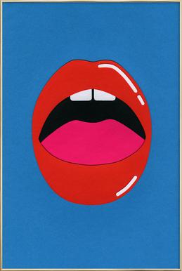 Red Lips Poster in Aluminium Frame