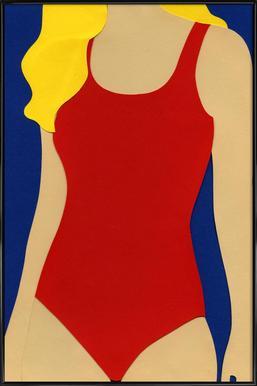 Red Swimsuit Blond Hair -Bild mit Kunststoffrahmen