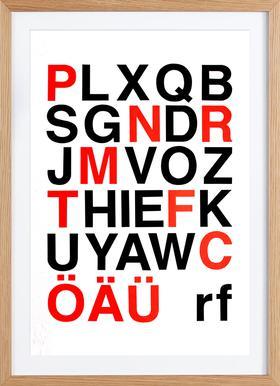 Alphabet Neon Red And Black - affiche encadrée