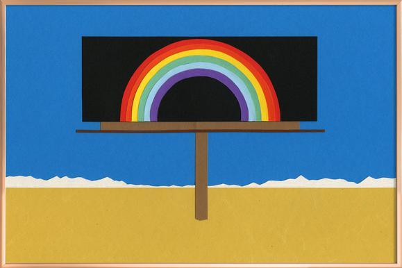 Desert Billboard with Rainbow