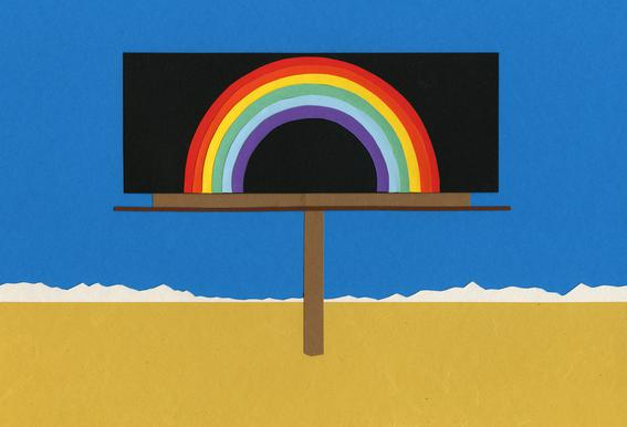 Desert Billboard with Rainbow