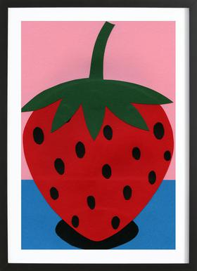 Strawberry ingelijste print