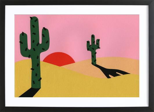 Two Cacti In The Desert Sun