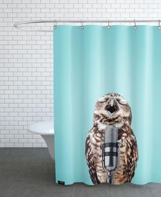 Owl Mic Shower Curtain