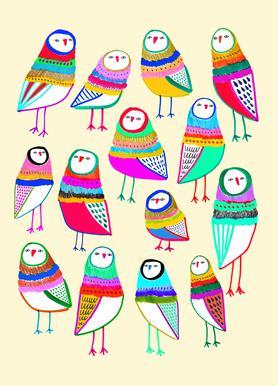 Owl Pattern 1 -Leinwandbild