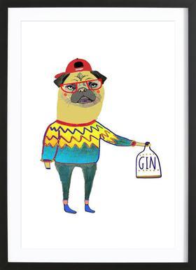 Gin Pug Framed Print