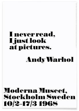 Andy Warhol - I never read Poster