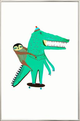 Croc Skater and Sloth -Poster im Alurahmen