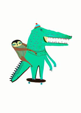 Croc Skater and Sloth Canvas Print