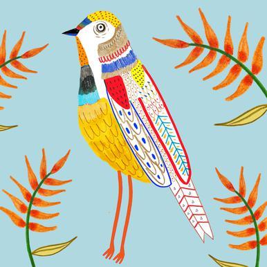 Bird Plants Aluminium Print