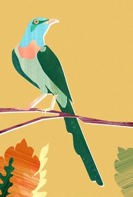 Green Bird tableau en verre