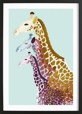Giraffes Mint Framed Print