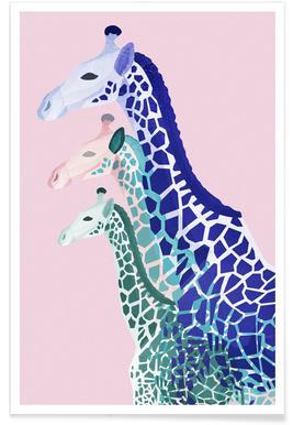 Giraffes Pink - Premium Poster