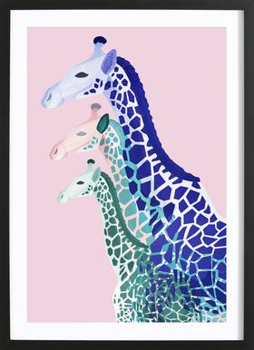 Giraffes Pink - Poster in Wooden Frame
