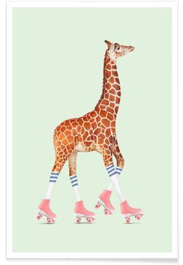 Rollerskating Giraffe poster