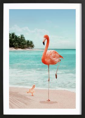 Wannabe Flamingo -Bild mit Holzrahmen