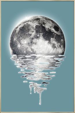 Melting Moon Poster in Aluminium Frame