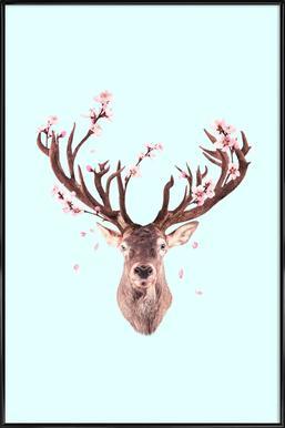 Cherry Blossom Deer Framed Poster