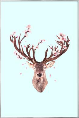 Cherry Blossom Deer Poster in Aluminium Frame
