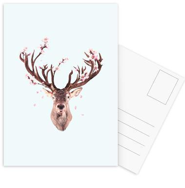 Cherry Blossom Deer Postcard Set