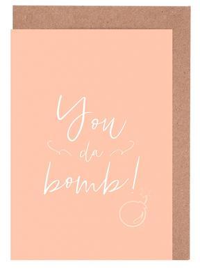 You da Bomb! Peach Gratulationskort i satt