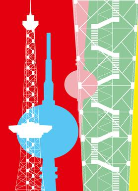 Berliner Fernsehturm + Funkturm Canvas Print