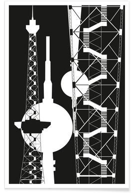 Berliner Fernsehturm & Funkturm  2 affiche