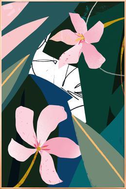 Oleander poster in aluminium lijst