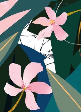 Oleander canvas doek